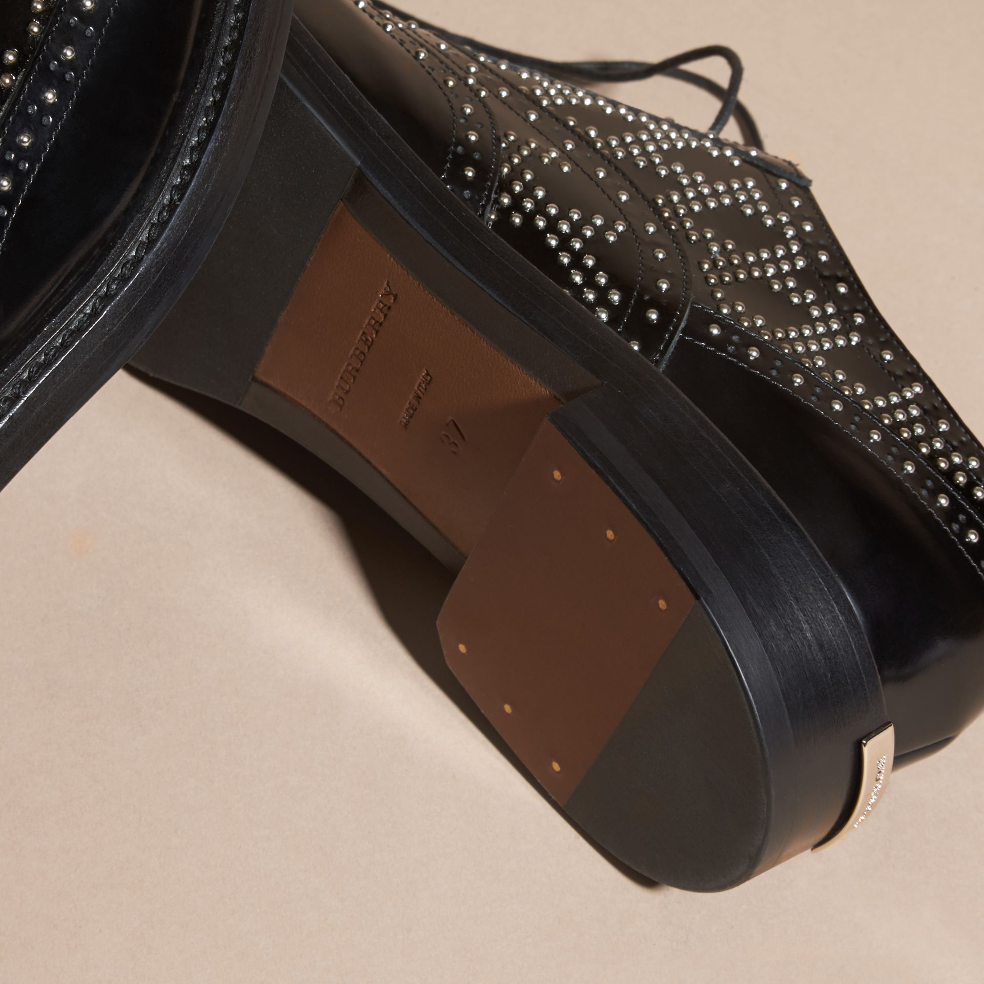 Black Studded Leather Wingtip Brogues - gallery image 5