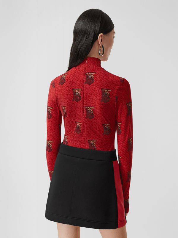 Monogram Motif Stretch Nylon Bodysuit in Bright Red - Women | Burberry - cell image 2