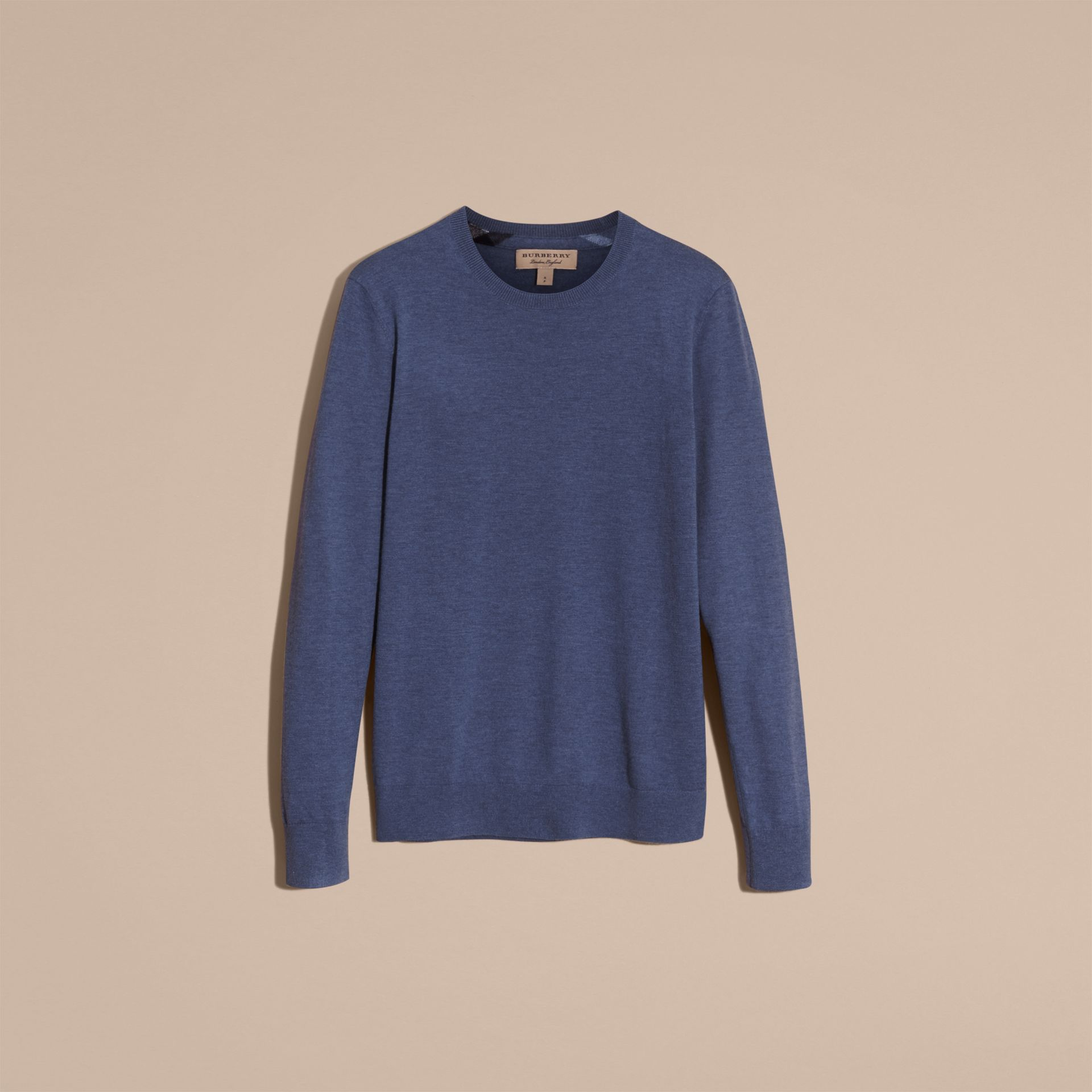 Lightweight Crew Neck Cashmere Sweater with Check Trim in Dusty Blue - gallery image 4