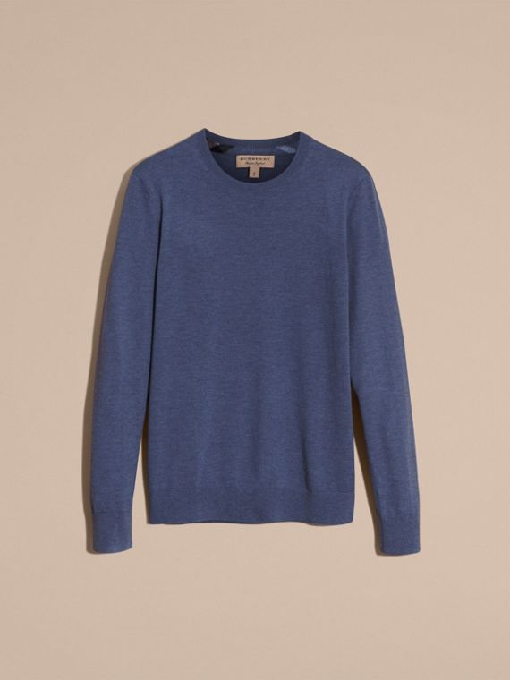 Lightweight Crew Neck Cashmere Sweater with Check Trim in Dusty Blue - cell image 3