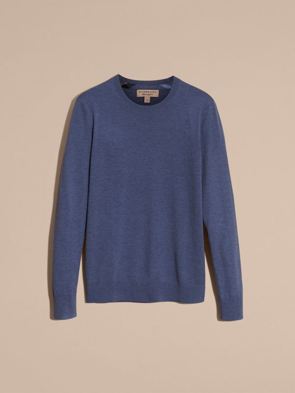 Check Jacquard Detail Cashmere Sweater in Dusty Blue - Men | Burberry United States - cell image 3