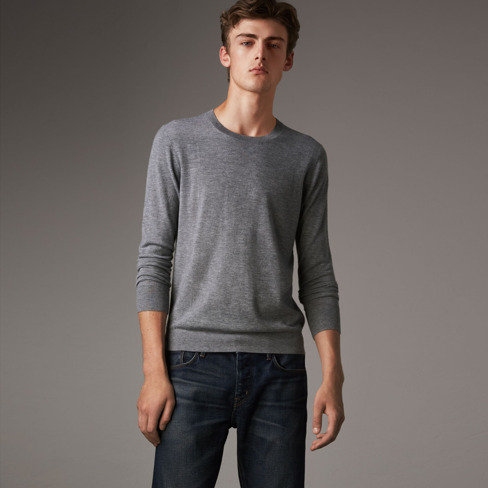 Check Jacquard Detail Cashmere Sweater in Pale Grey Melange - Men | Burberry Canada - gallery image 0