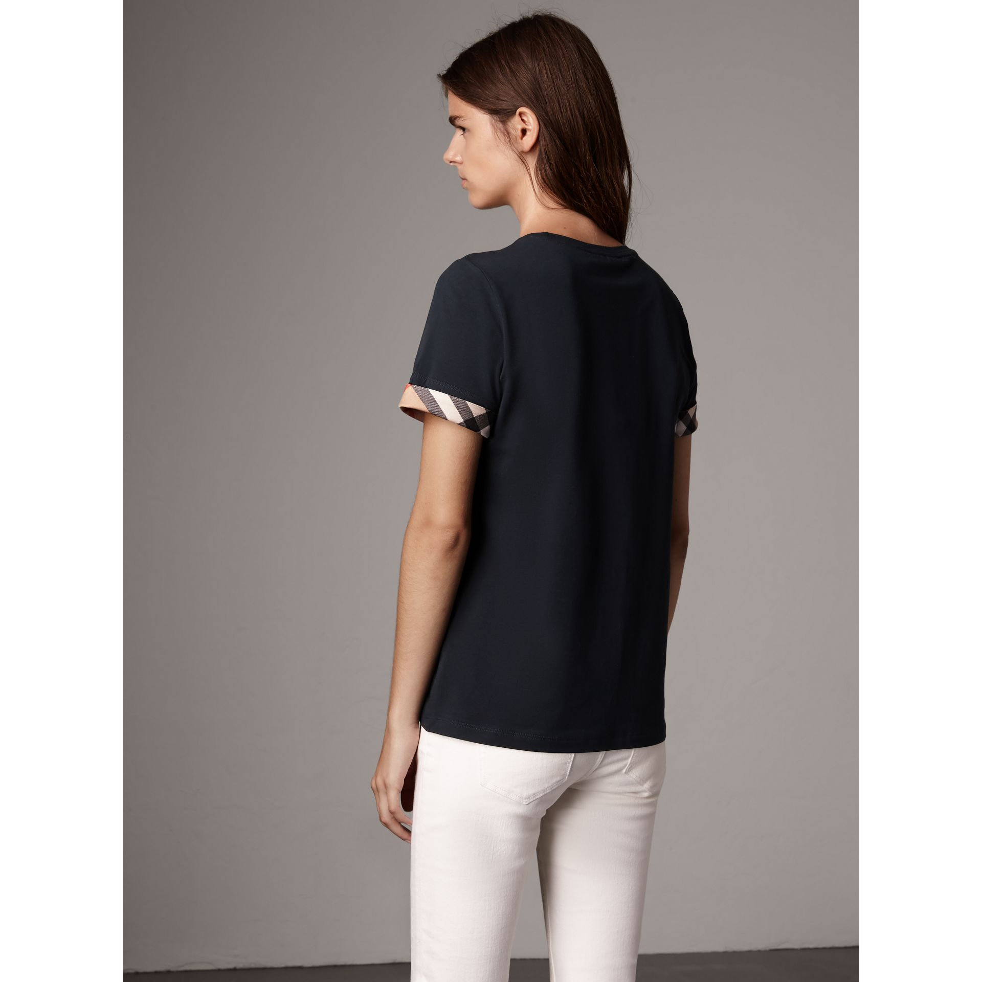 Check Cuff Stretch Cotton T-Shirt in Navy - Women | Burberry - gallery image 2