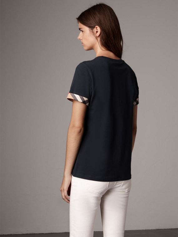Check Cuff Stretch Cotton T-Shirt in Navy - Women | Burberry - cell image 2