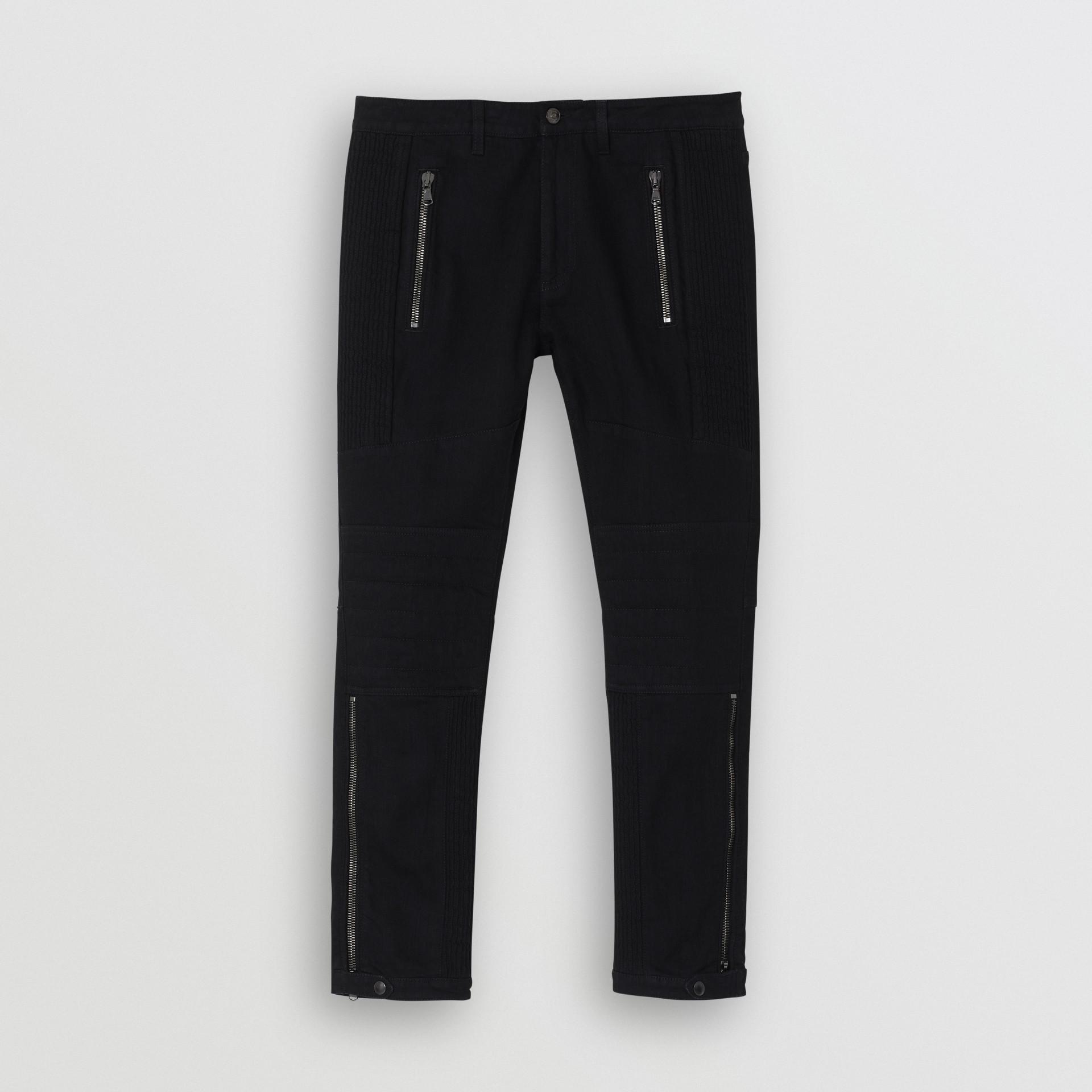 Slim Fit Zip Detail Biker Jeans in Black - Men   Burberry United States - gallery image 3