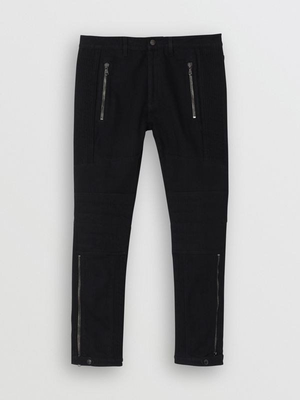 Slim Fit Zip Detail Biker Jeans in Black - Men | Burberry United States - cell image 3