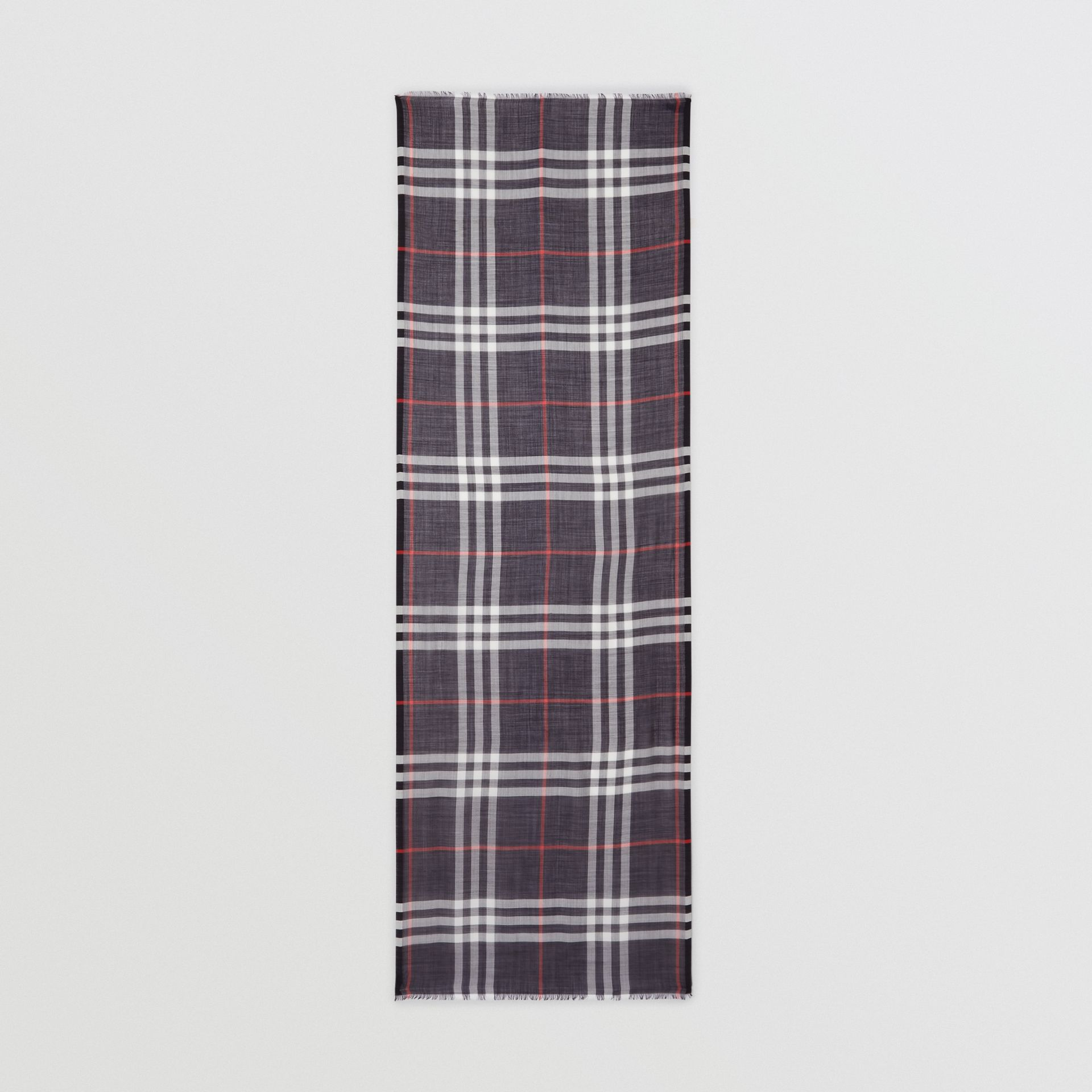 Lightweight Check Wool Silk Scarf in Navy | Burberry - gallery image 5