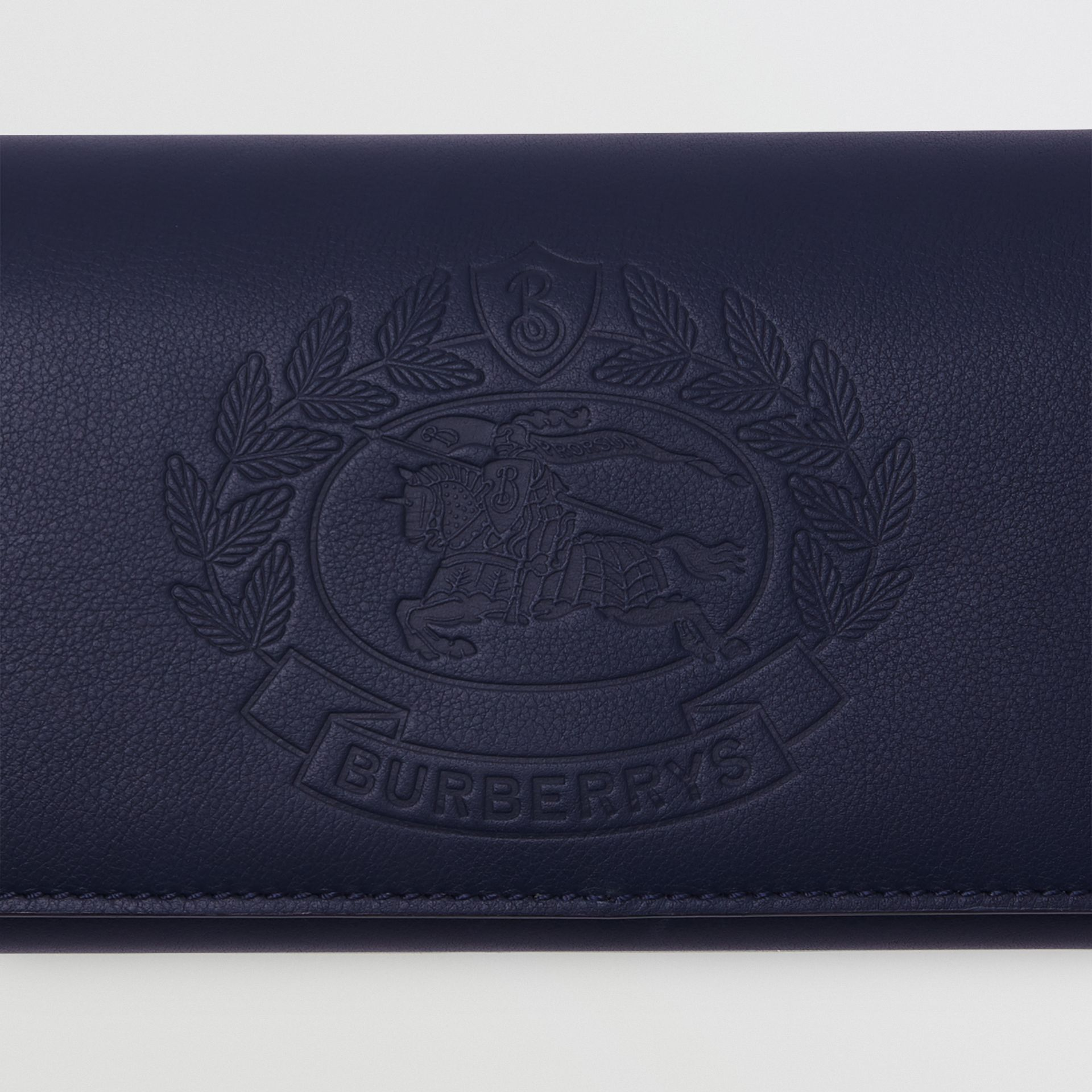 Embossed Crest Two-tone Leather Continental Wallet in Regency Blue - Women | Burberry - gallery image 1