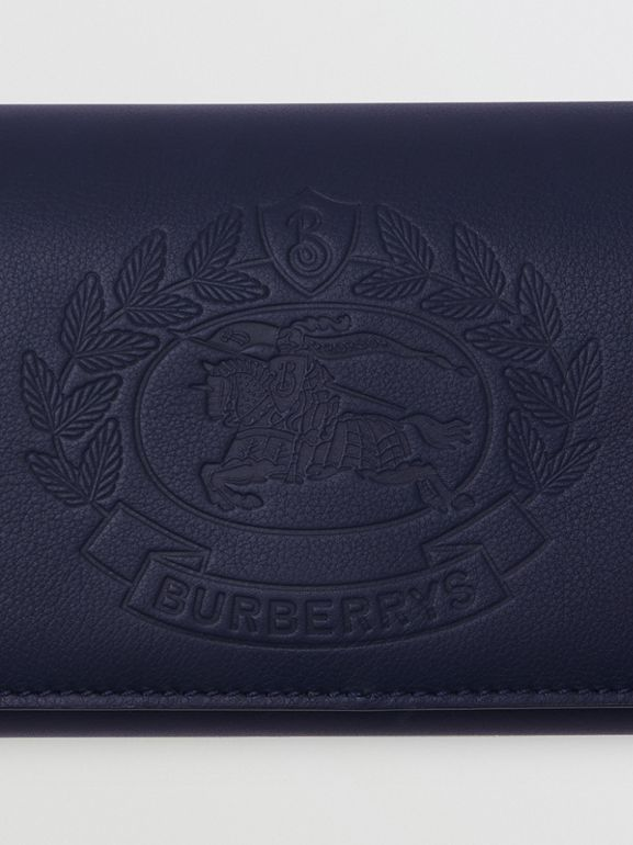 Embossed Crest Two-tone Leather Continental Wallet in Regency Blue - Women | Burberry - cell image 1