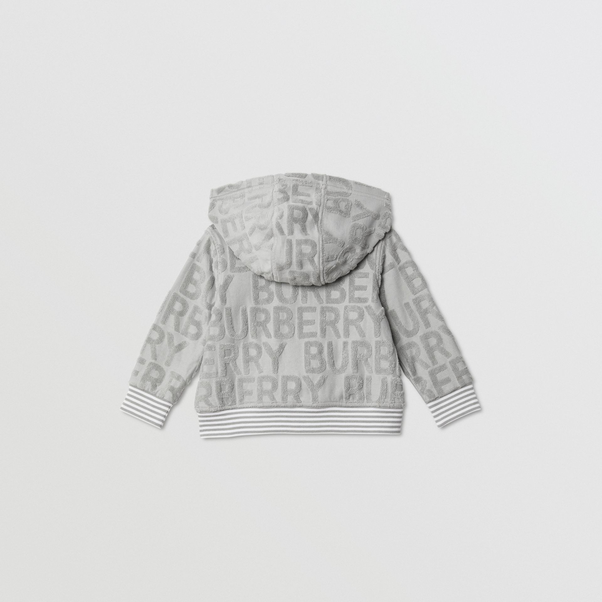Logo Towelling Hooded Top in Pale Grey - Children | Burberry - gallery image 4