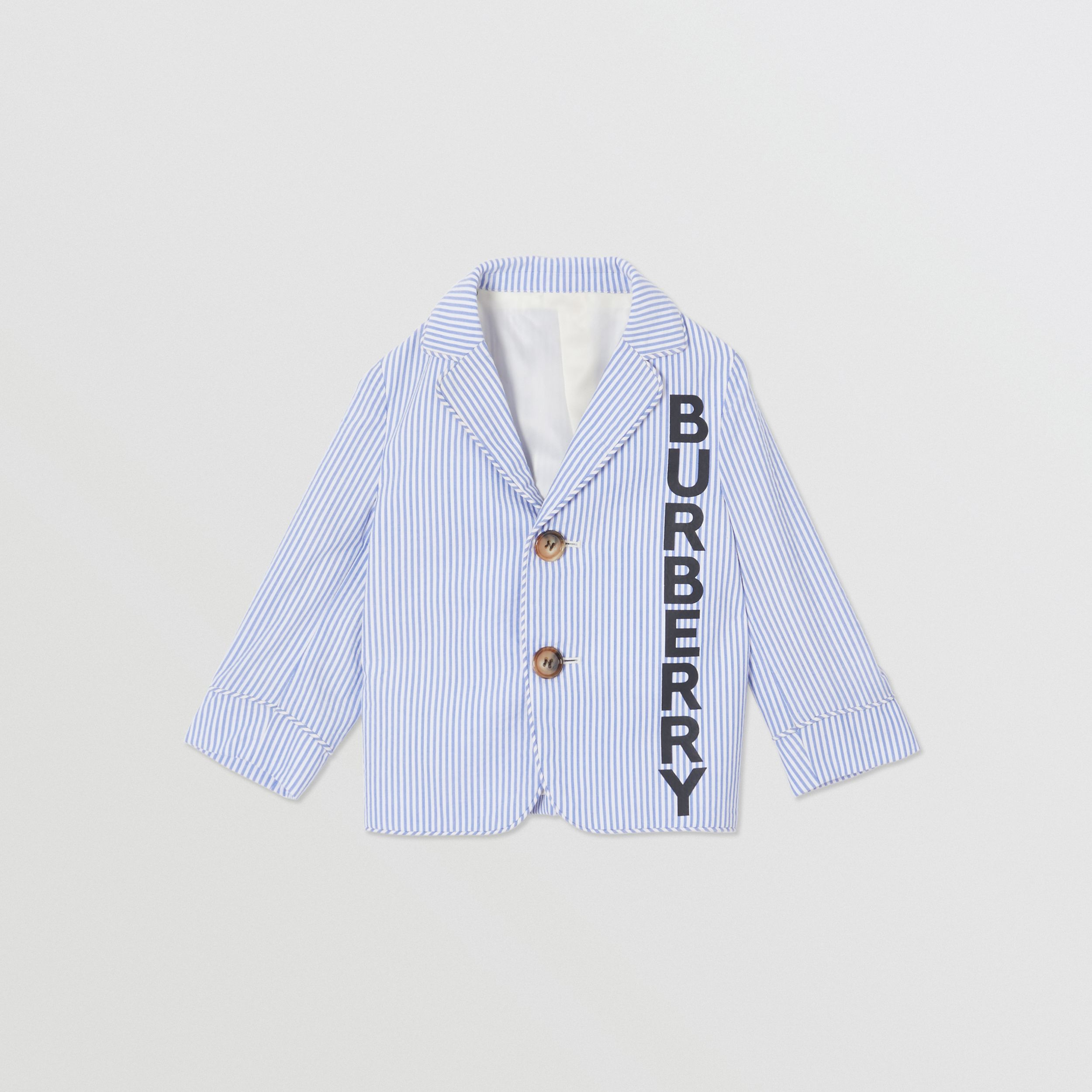 Logo Print Striped Cotton Seersucker Blazer in Cornflower Blue - Children | Burberry - 1
