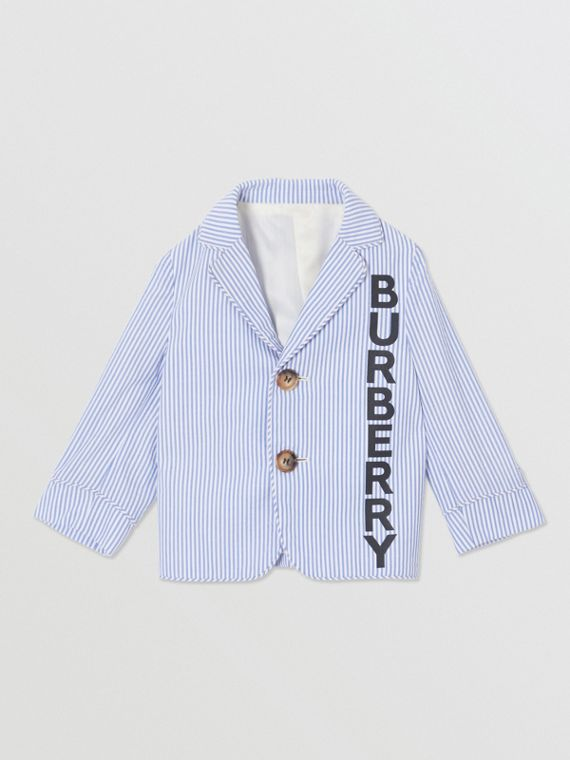 Logo Print Striped Cotton Seersucker Blazer in Cornflower Blue