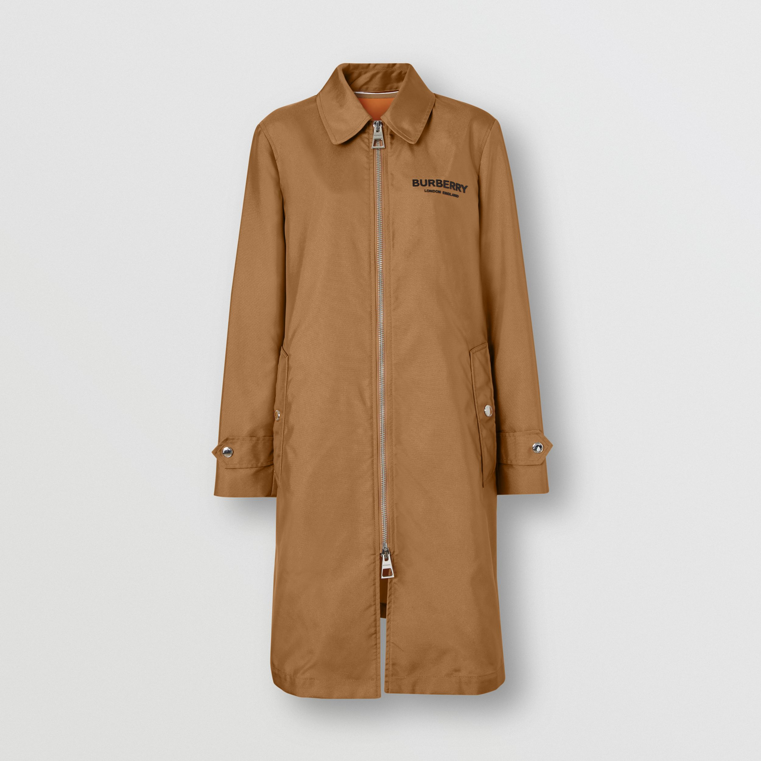 Logo Appliqué Technical Canvas Coat in Camel - Women | Burberry - 4