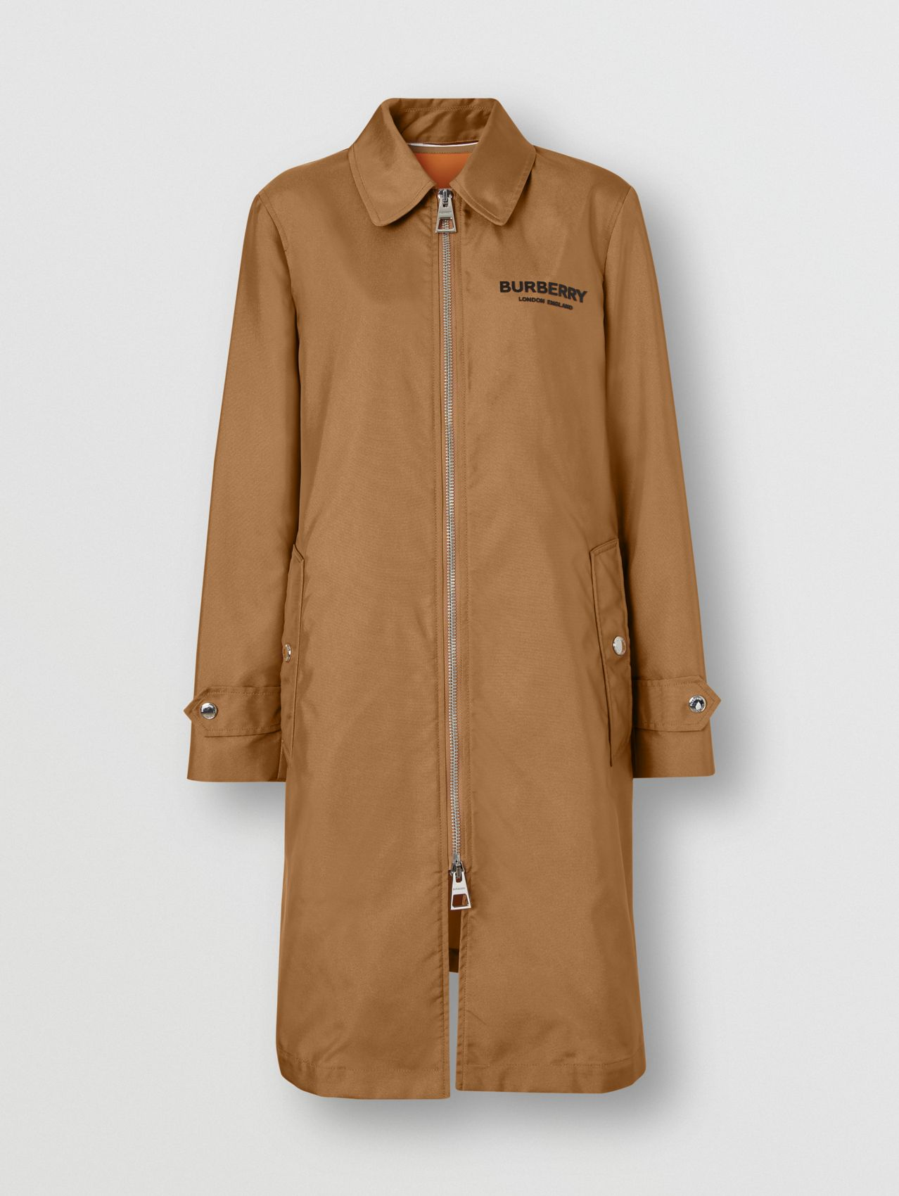 Logo Appliqué Technical Canvas Coat (Camel)