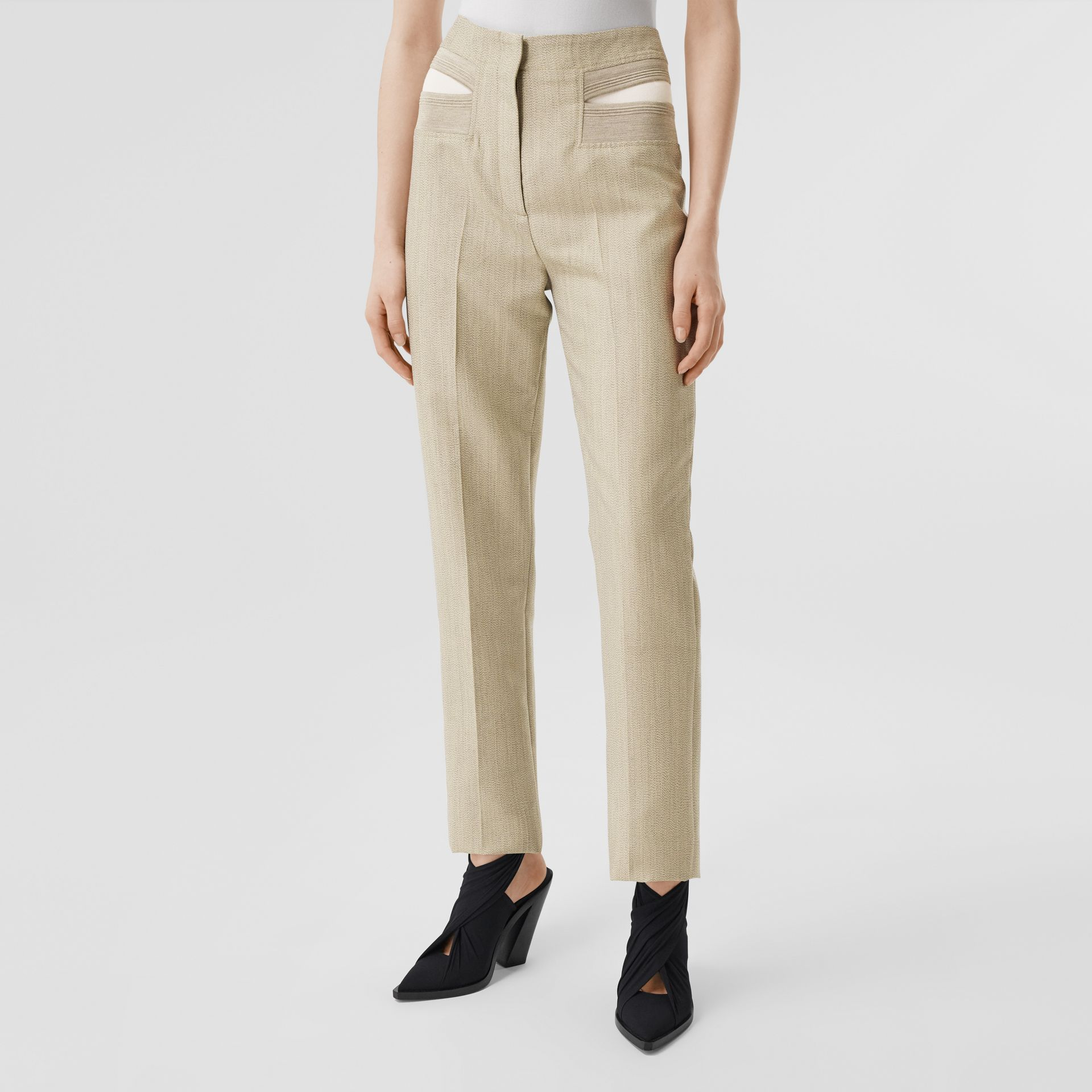 Technical Wool Reconstructed Trousers in Grey - Women | Burberry - gallery image 5