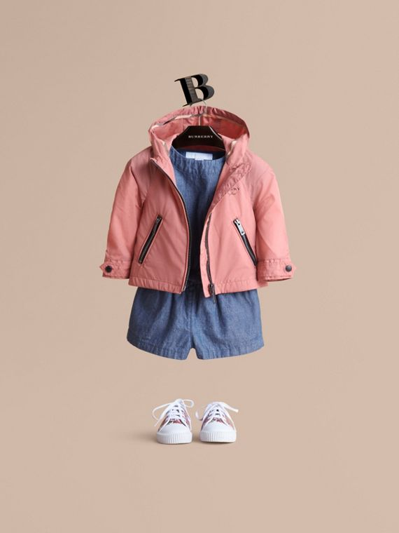 Showerproof Hooded Jacket in Rose Pink