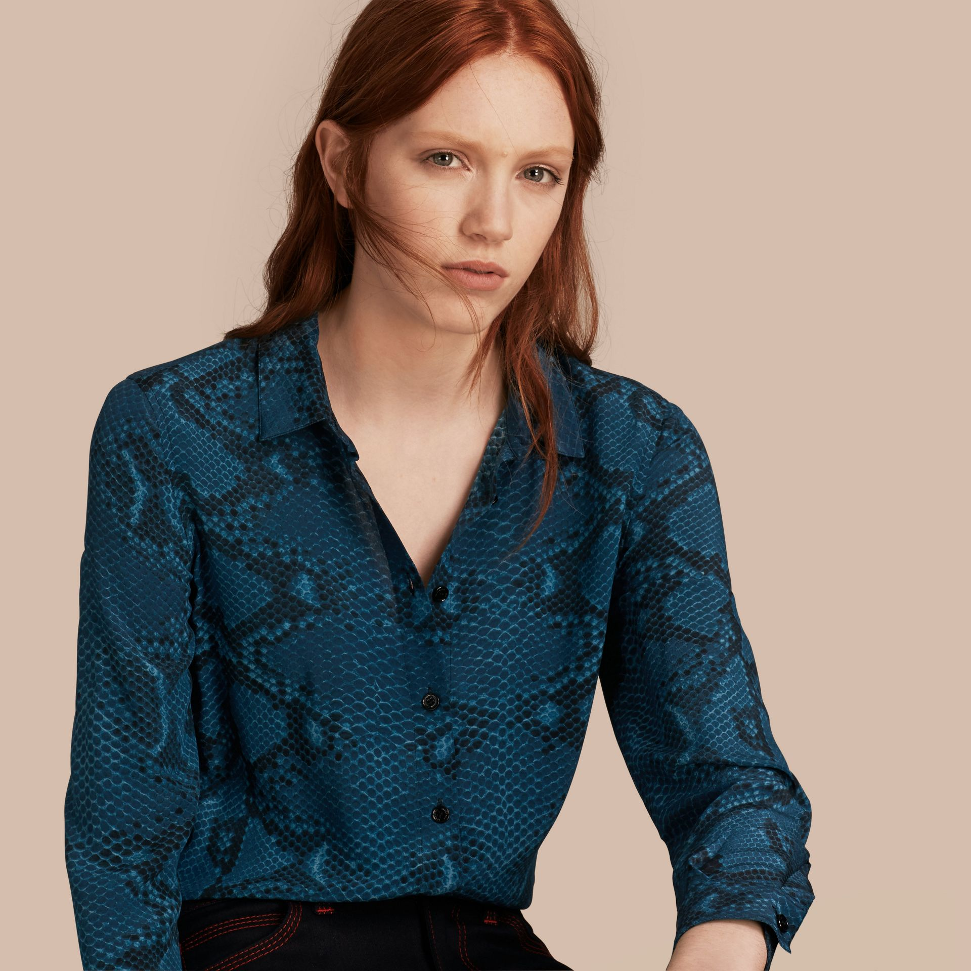 Mineral blue Python Print Silk Shirt - gallery image 1