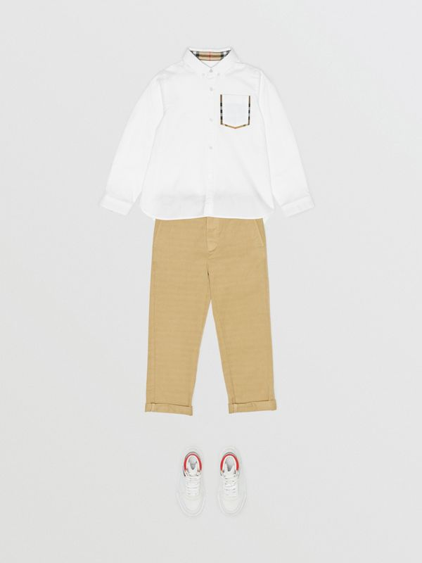 Check Detail Cotton Oxford Shirt in White | Burberry Canada - cell image 2