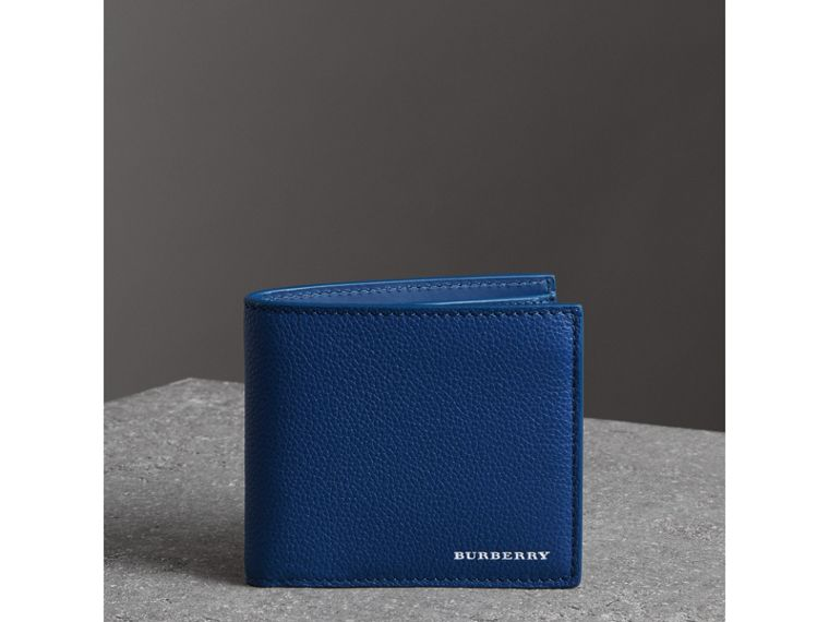 Grainy Leather International Bifold Coin Wallet in Bright Ultramarine - Men | Burberry Canada - cell image 4