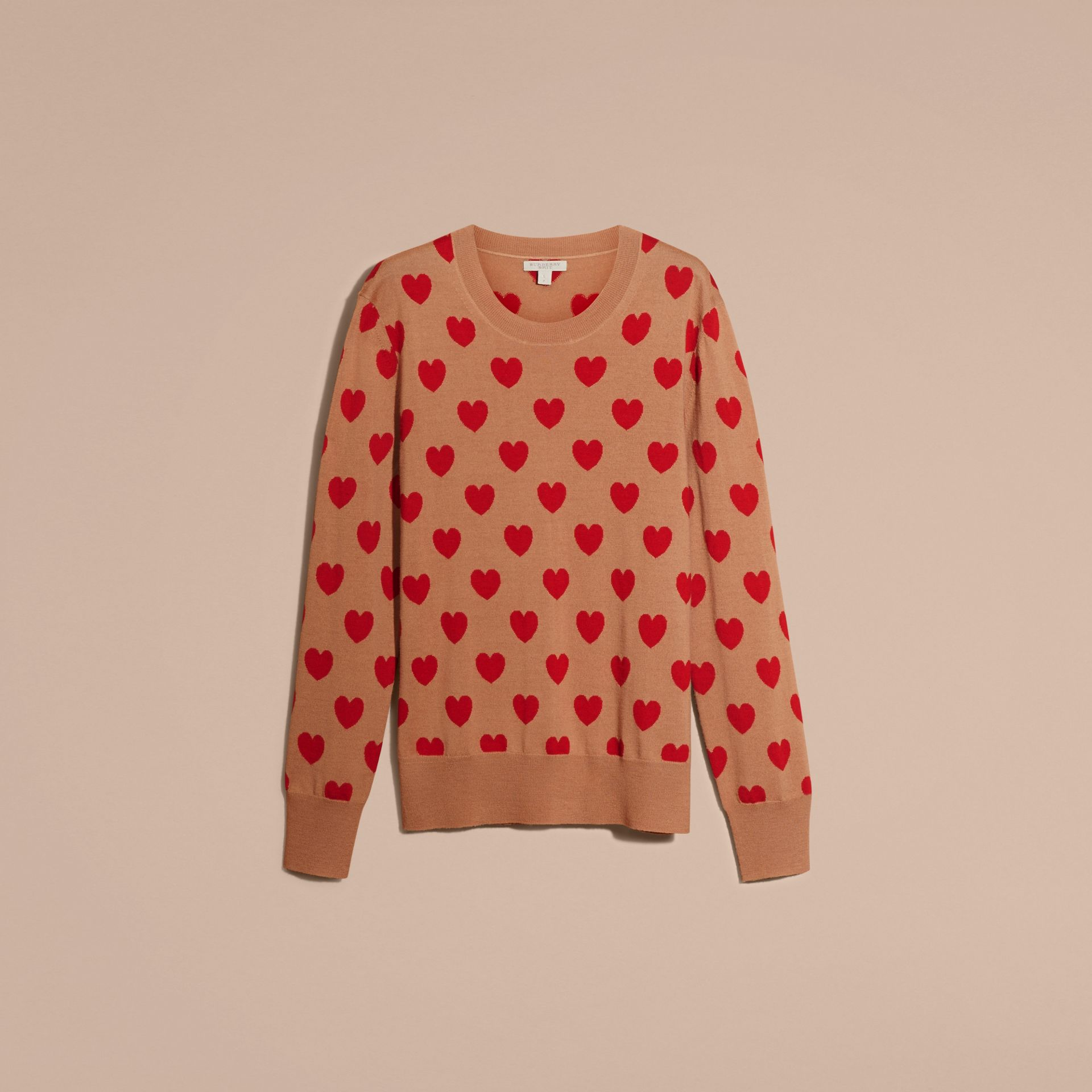 Heart Intarsia Merino Wool Sweater in Camel - Women | Burberry - gallery image 4