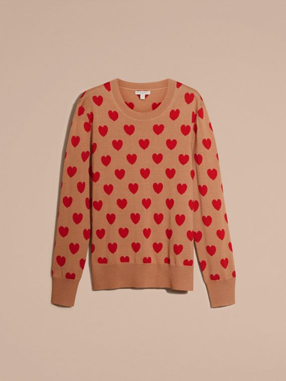 Heart Intarsia Merino Wool Sweater in Camel - Women | Burberry - cell image 3