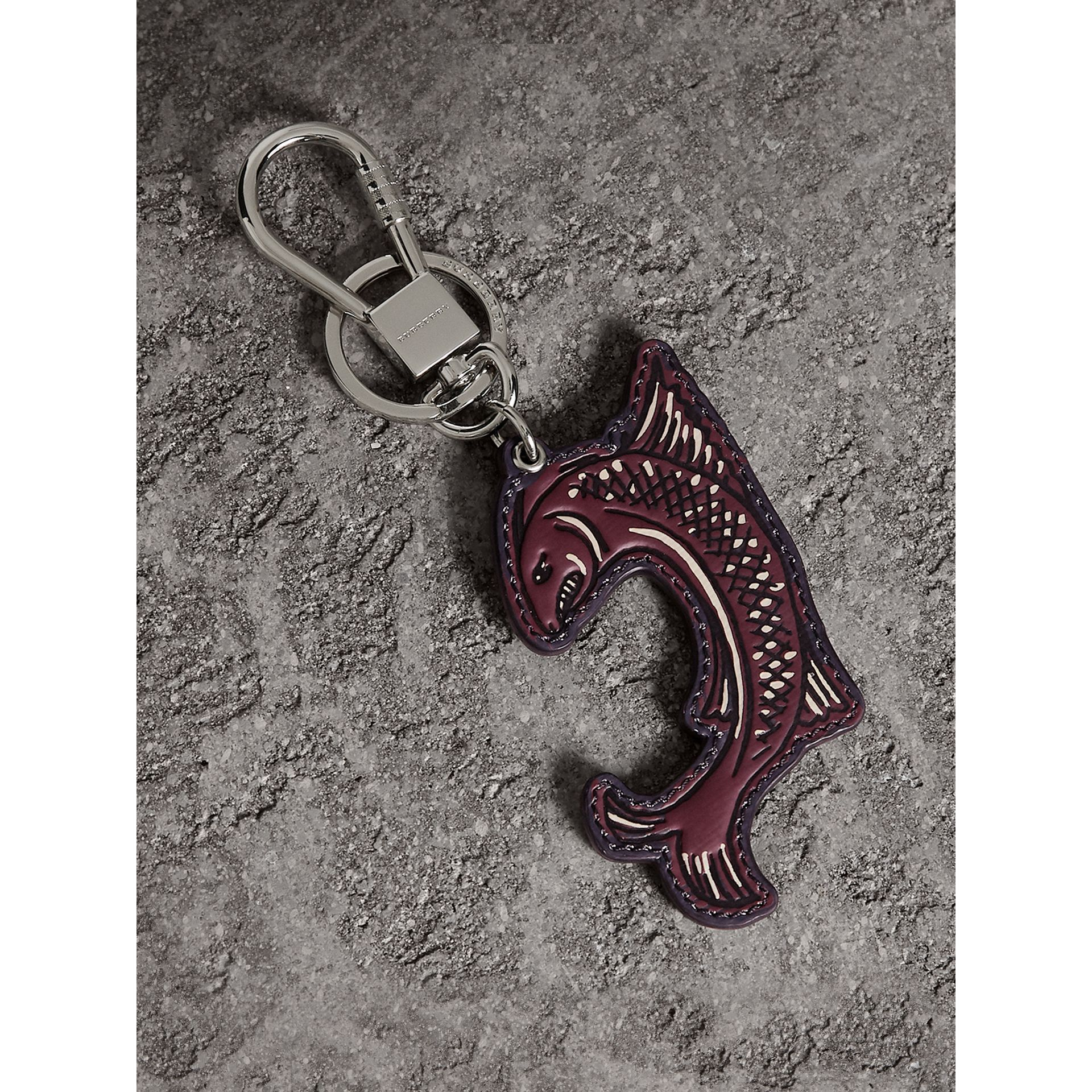 Beasts Leather Key Ring in Coral Red | Burberry - gallery image 0