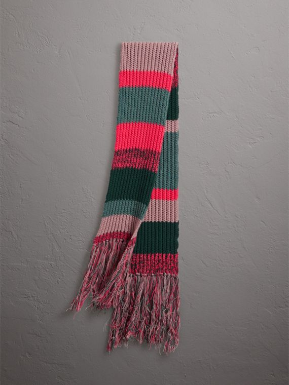 Striped Rib Knit Wool Cashmere Scarf in Bright Peony