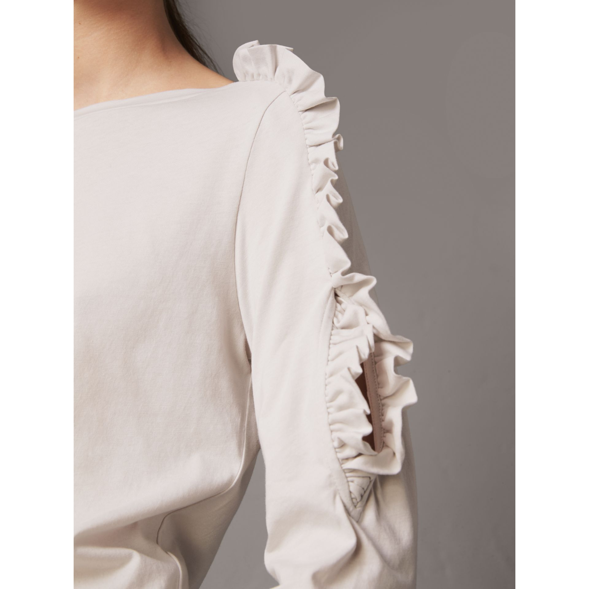 Ruffle Detail Cotton Top in Winter White - Women | Burberry - gallery image 1