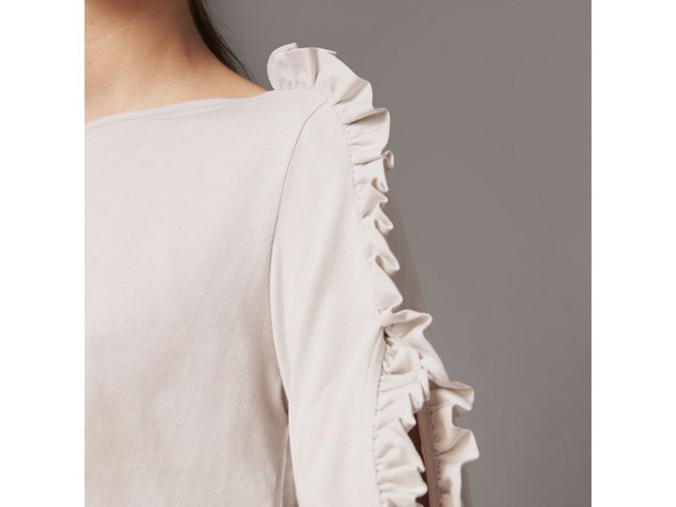 Ruffle Detail Cotton Top in Winter White - Women | Burberry - cell image 1