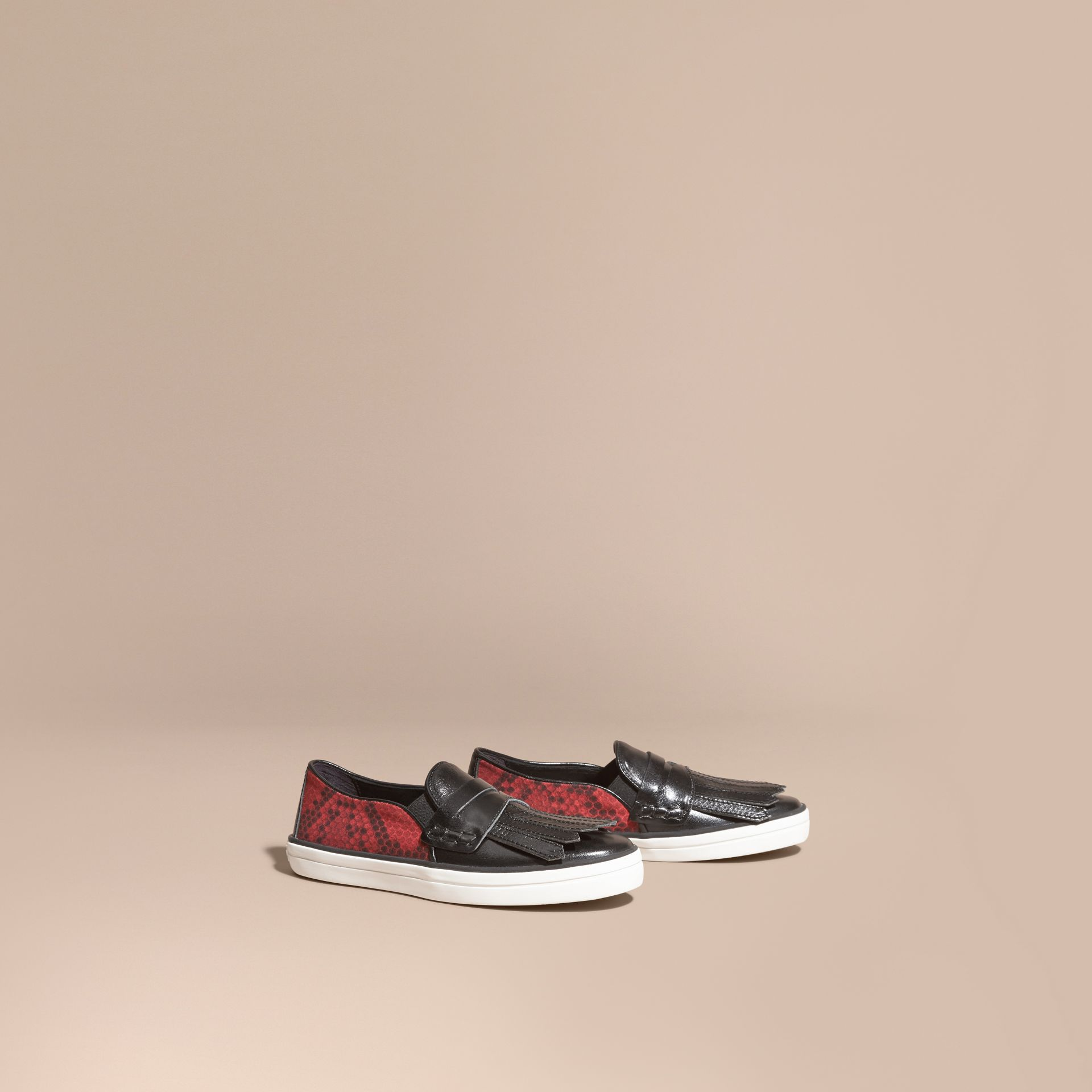 Black/windsor red Python Print Cotton and Leather Trainers Black/windsor Red - gallery image 1