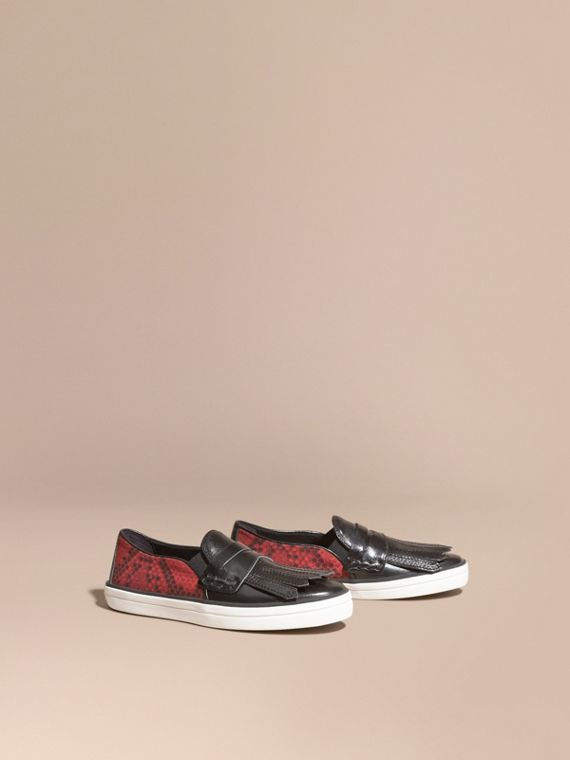 Python Print Cotton and Leather Trainers Black/windsor Red
