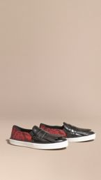 Python Print Cotton and Leather Trainers