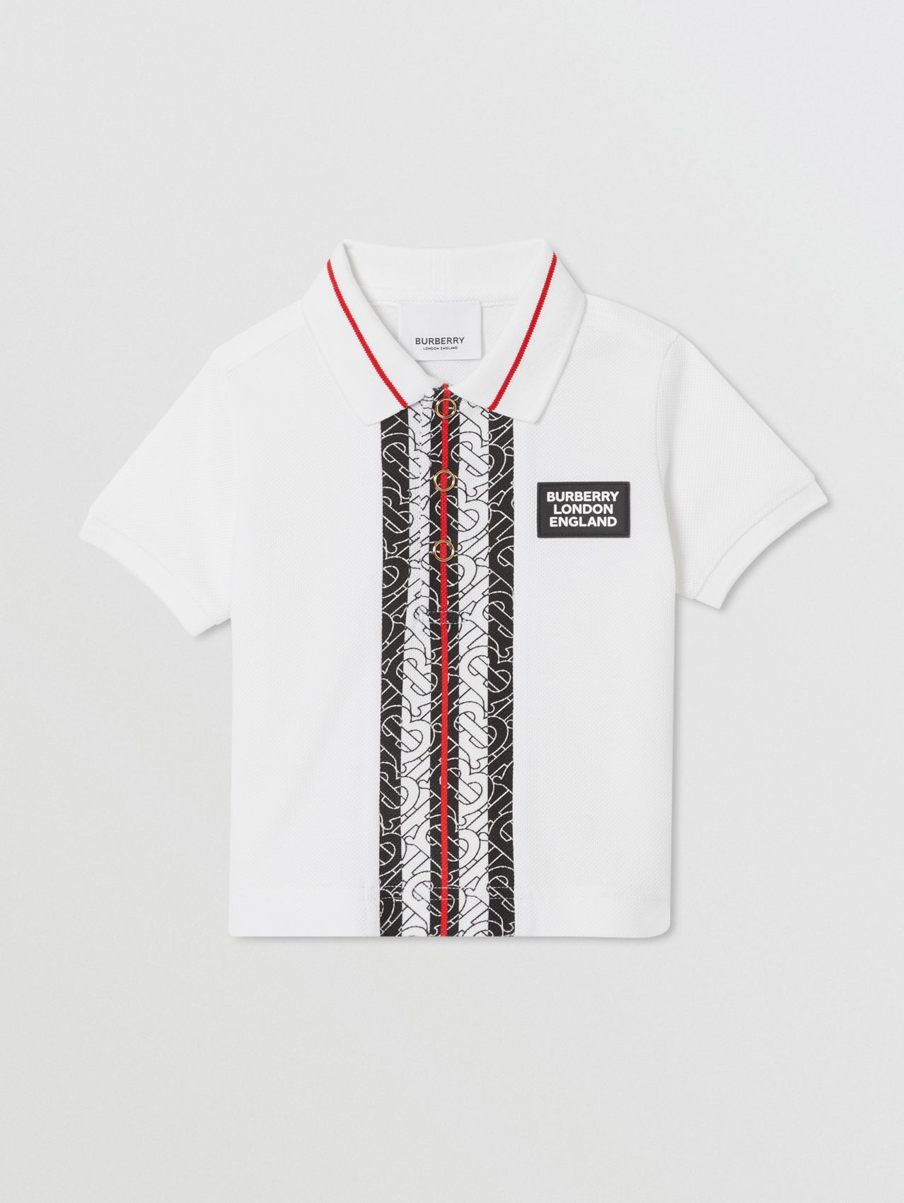 Monogram Stripe Cotton Piqué Polo Shirt (White)
