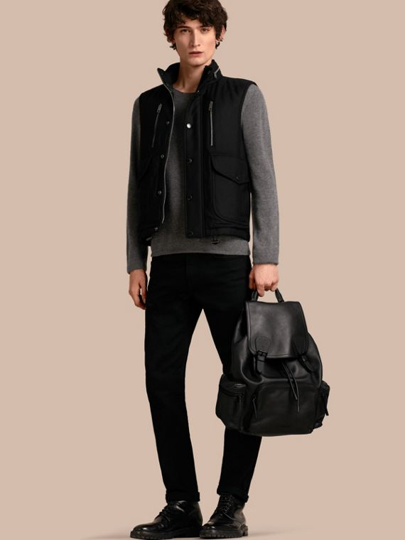 Wool Gilet with Packaway Hood