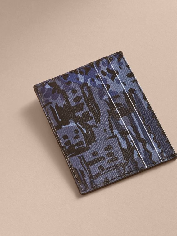 British Seaside Print London Leather Card Case Bright Navy - cell image 2