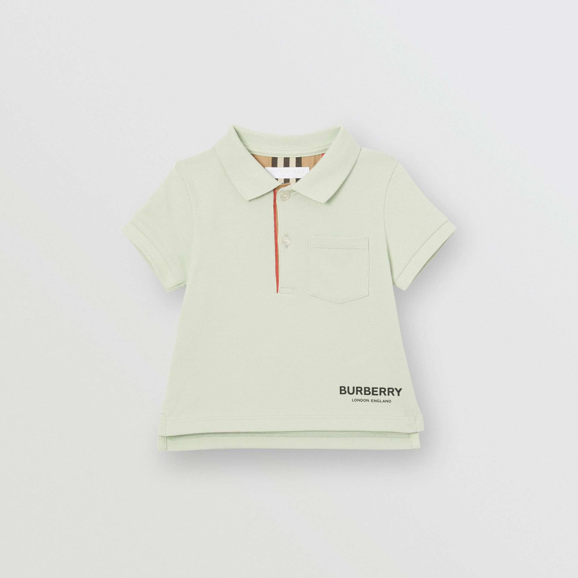 Icon Stripe Placket Cotton Piqué Polo Shirt in Pale Mint - Children | Burberry United States - gallery image 0