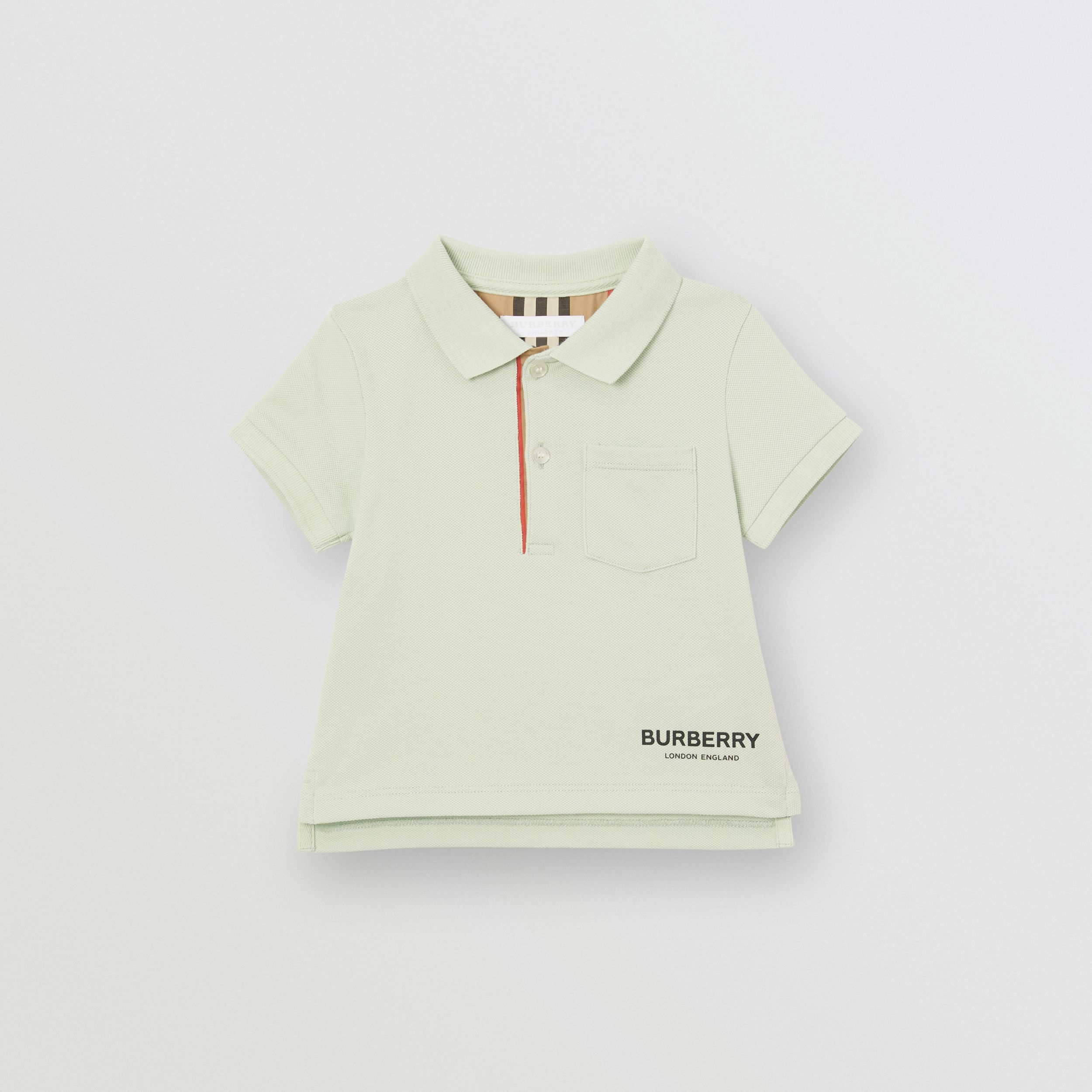 Icon Stripe Placket Cotton Piqué Polo Shirt in Pale Mint | Burberry - 1