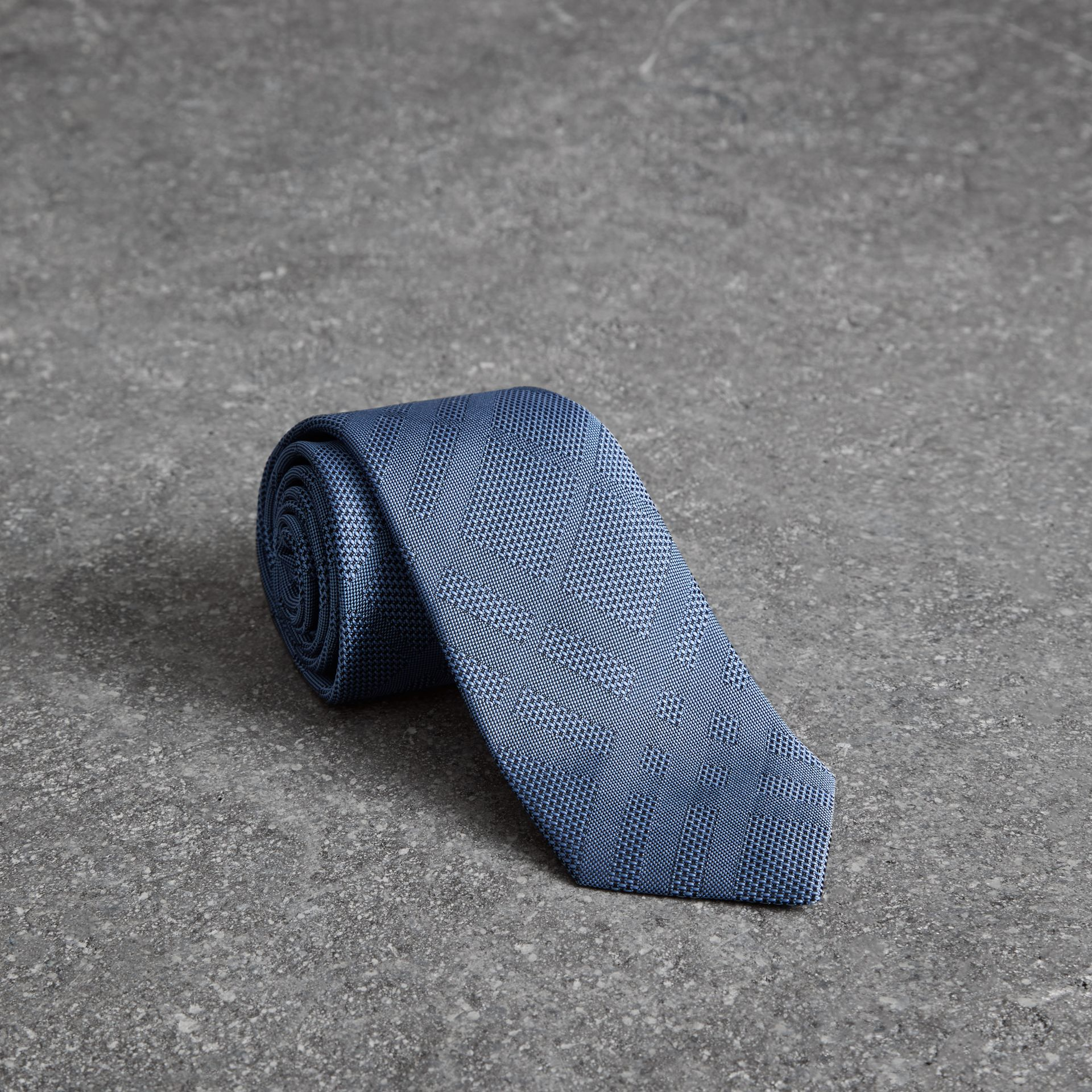 Modern Cut Check Silk Tie in Sky Blue - Men | Burberry - gallery image 0