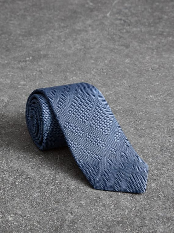 Modern Cut Check Silk Tie in Sky Blue