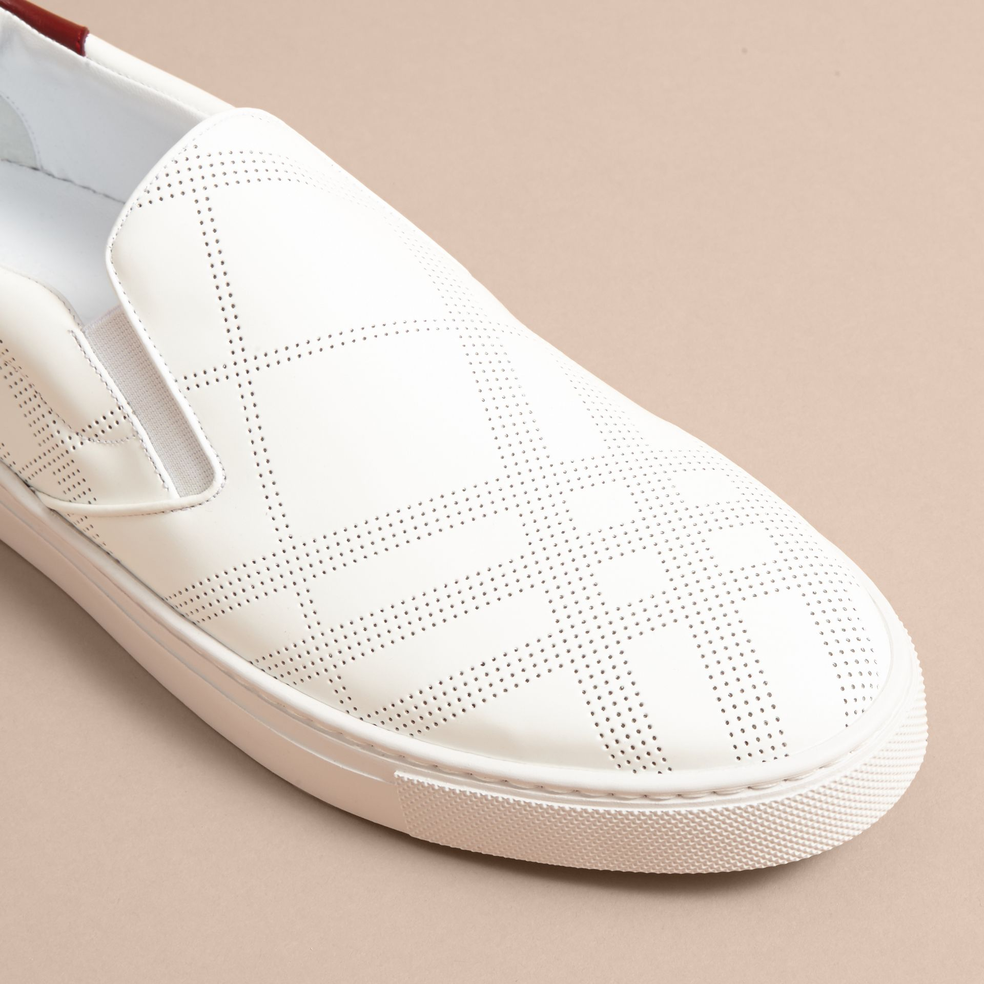 Perforated Check Leather Slip-on Trainers in Optic White/deep Claret Melange - Men | Burberry - gallery image 2