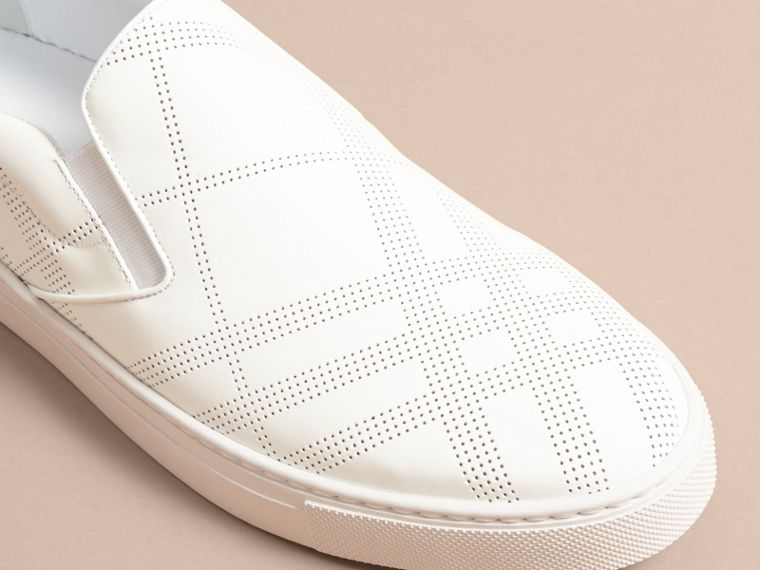 Perforated Check Leather Slip-on Trainers in Optic White/deep Claret Melange - Men | Burberry - cell image 1