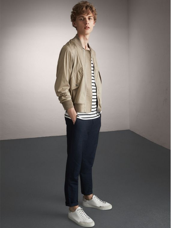 Cotton Blend Twill Bomber Jacket in Taupe - Men | Burberry - cell image 3