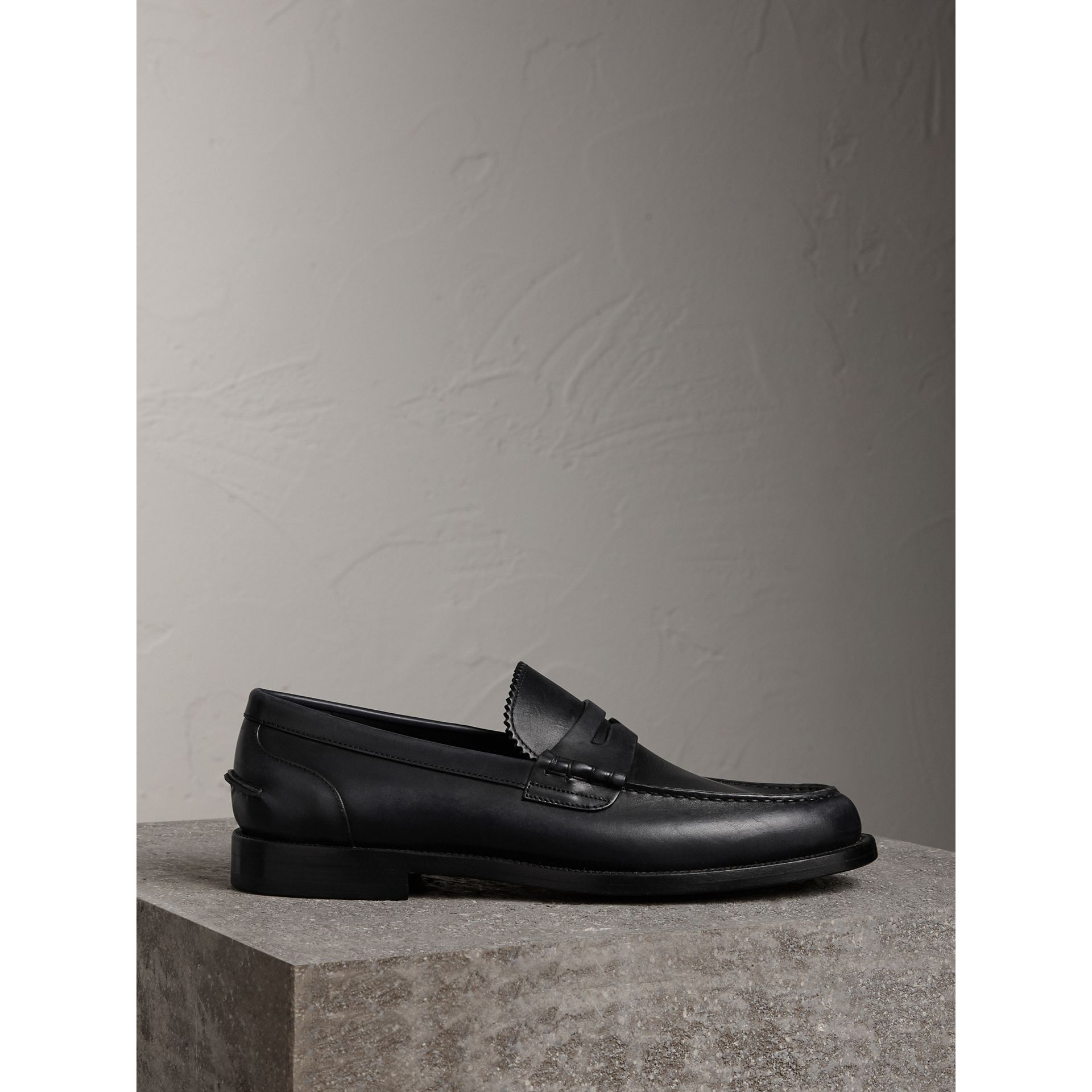 Leather Penny Loafers in Black - Men | Burberry - gallery image 4