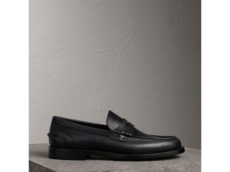 Leather Penny Loafers in Black - Men | Burberry - cell image 4