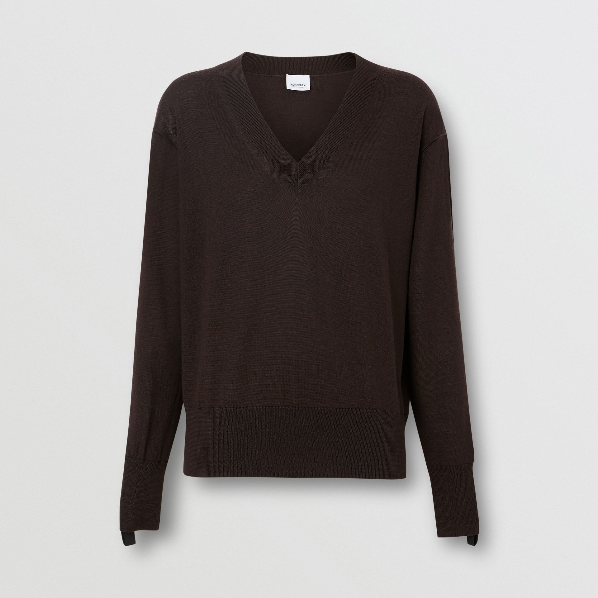 Logo Detail Merino Wool Silk Sweater in Dark Mocha - Women | Burberry United Kingdom - gallery image 3