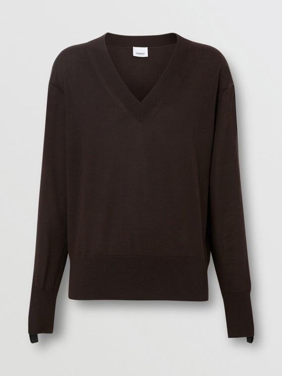 Logo Detail Merino Wool Silk Sweater in Dark Mocha