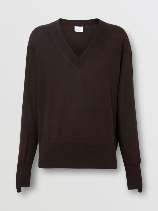 Logo Detail Merino Wool Silk Sweater in Dark Mocha - Women | Burberry - cell image 3