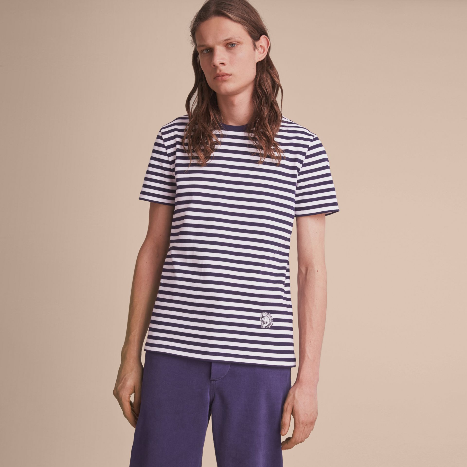 Breton Stripe Cotton T-shirt with Pallas Helmet Motif in Navy/white - Men | Burberry - gallery image 6