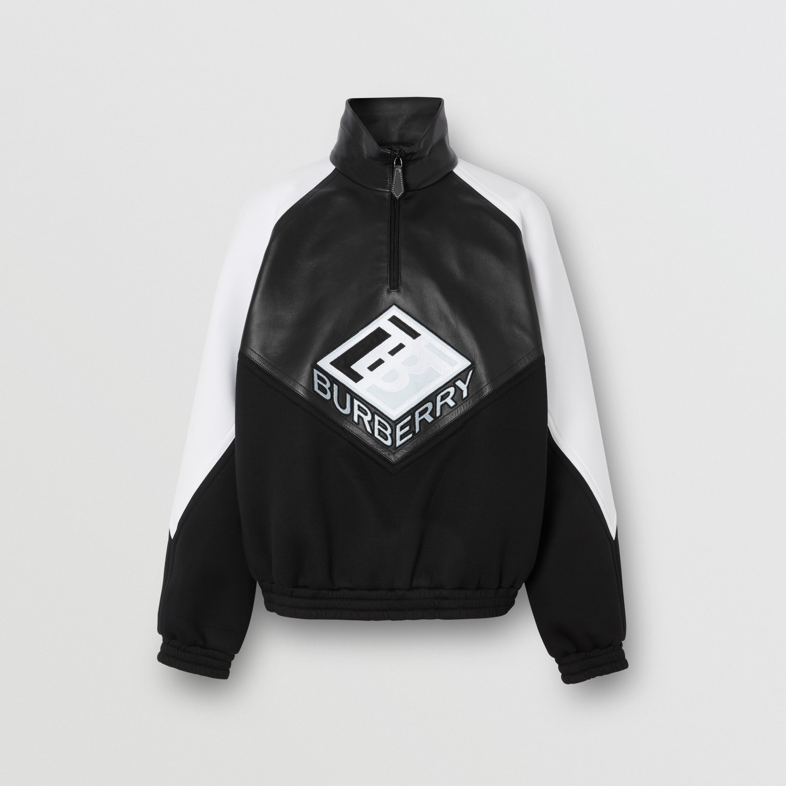 Logo Graphic Lambskin Funnel Neck Track Top in Black - Men | Burberry - 4