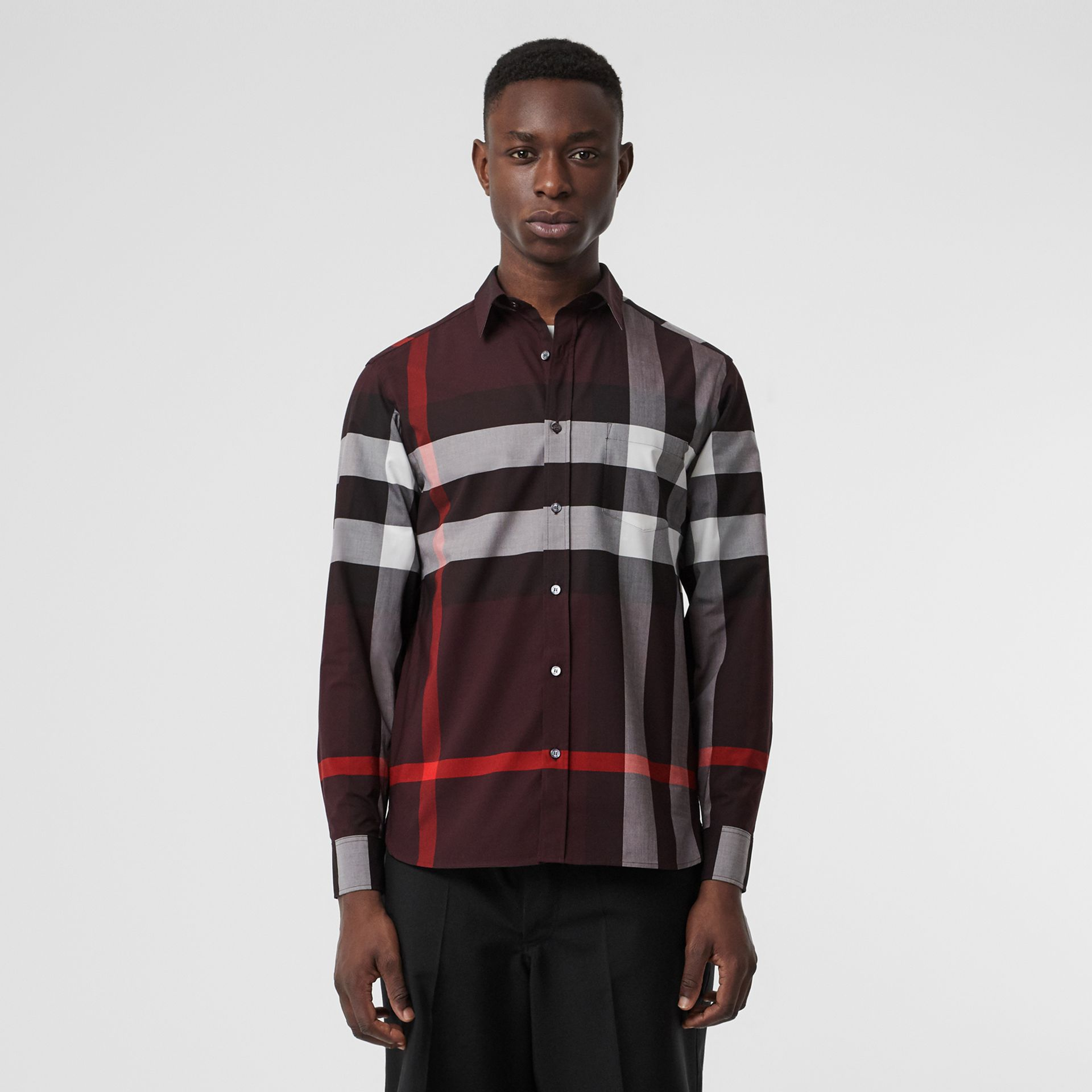 Check Stretch Cotton Shirt in Deep Claret - Men | Burberry United Kingdom - gallery image 0